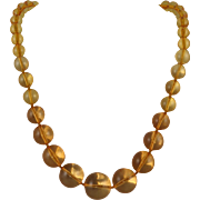 "14K Amber Graduated Bead Necklace 24.5"" 73.4 grams"