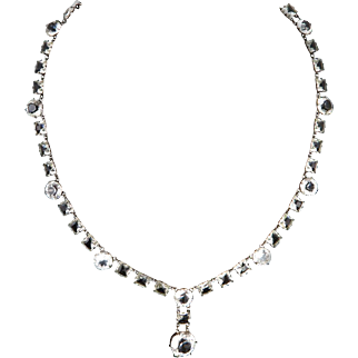 Edwardian Open Back Crystal Riviere Sterling Silver Necklace 17.5""