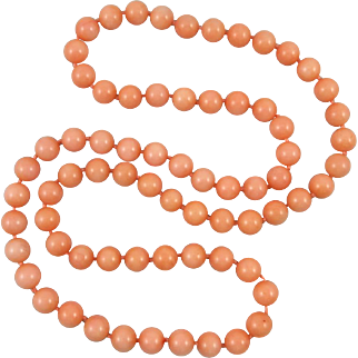 Long Strand of Peach Aventurine Beads 32""