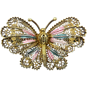 Italian 800 Silver Filigree Butterfly Brooch