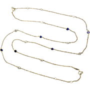 14K Yellow Gold Lab Sapphire and CZ Bezel Necklace 36""