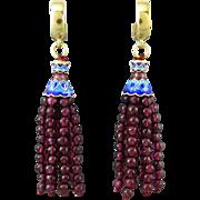 Garnet Tassel and 18K Vermeil Enamel Earrings