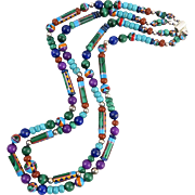 """Beautiful Inlaid Bead and Gemstone Bead Double Strand Necklace 22.25"""""""