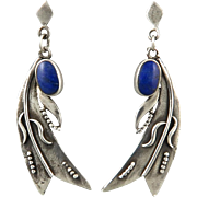 Lapis and Sterling Wheat Design Dangle Earrings
