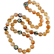 Vintage Translucent Chinese Carnelian and Cloisonne Necklace 28""