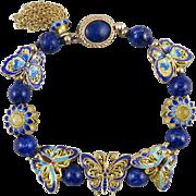 18K Vermeil Enamel Butterfly and Lapis Bracelet