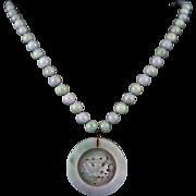 14K Carved Lavender and Green Jade Devil's Work Pendant Necklace