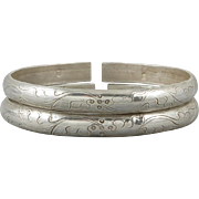 A Pair of Antique Chinese Silver Wedding Bangles Signed