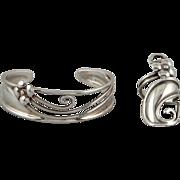 Sterling Silver Bracelet and Ring Set Signed