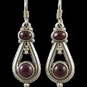 Vintage Garnet and Sterling Dangle Earrings
