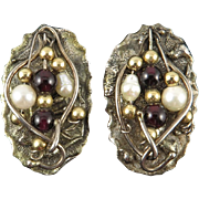 14K | Sterling Silver | Garnet and Cultured Pearl Unique Artisan Earrings