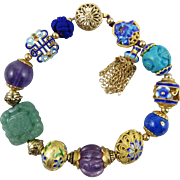 Chinese Carved Gemstone and 18K Vermeil Enamel Treasure Bracelet