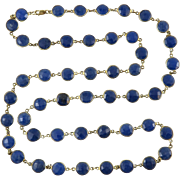 Blue Sapphire Faceted Bezel Set Sterling 14K Vermeil Necklace 36""