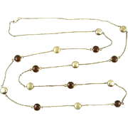 14K Vermeil and Smoky Quartz Bezel Necklace 42""