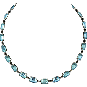 Art Deco Foil Back Blue Crystal Collet Necklace Rhinestone Clasp