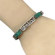 Chrysocolla and Sterling Silver Peruvian Scene Bracelet Signed