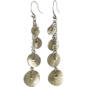Sterling Silver Chain and Disk Multi Dangle Earrings