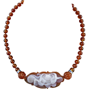 Chinese Carved Carnelian Agate Lotus Flower Necklace 23""