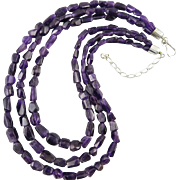 3 Strand Faceted Free Form Amethyst and Sterling Silver Necklace
