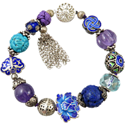 Chinese Carved Gemstone and Sterling Enamel Bead Treasure Bracelet
