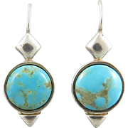 Vintage Kingman Turquoise and Sterling Silver Earrings Signed