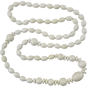 """Mid Century Pure White Coral Bead Necklace 34"""""""