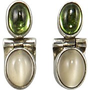 Moonstone and Peridot Doorknocker Sterling Silver Earrings Signed