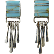 Turquoise and Sterling Fringe and Inlay Earrings
