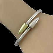 Sleek Modernist Sterling Silver Hinged Bangle Bracelet