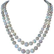 330ctw Australian Crystal Opal Double Strand Necklace 14K Diamond and Ruby Clasp