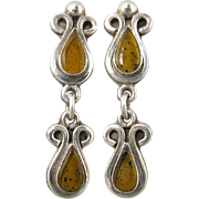 Vintage Amber and Sterling Silver Dangle Earrings