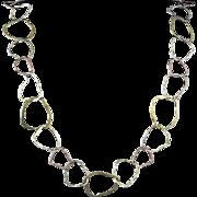 """Rustic Big Hammered Link 14K Sterling Vermeil Necklace 28"""""""
