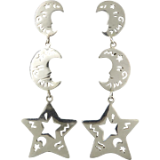 Moon and Star Long Sterling Silver Dangle Earrings