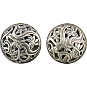 Art Deco Big Sterling Open Work Shadowbox Disc Clip Style Earrings