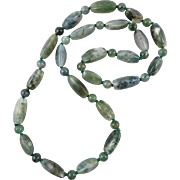 Fine Moss Agate Bead Vintage Necklace