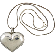 Big Puffy Heart Pendant Necklace 24""