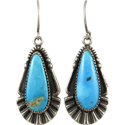 Gorgeous Kingman Turquoise and Sterling Silver Earrings