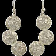 Spun Silver Filigree Long Dangle Earrings