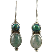 Chrysocolla and Moss Agate Sterling Silver Earrings