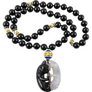 14K Chinese Carved Agate Double Cat and Black Onyx Necklace 28""