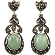 Green Jade and Marcasite Sterling Silver Earrings
