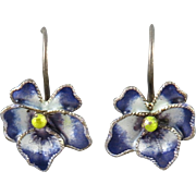 Enameled Pansy Gilded Silver Earrings