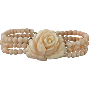 14K Pink Coral Carved Rose 3 Strand Bracelet