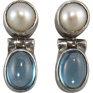 Blue Topaz and Cultured Pearl Hinged Sterling Silver Door Knocker Earrings