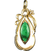 14K Imperial Natural Green Jade Pendant
