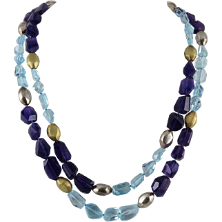 450ctw Sky Blue Topaz | Amethyst and Sterling Silver Double Strand Necklace