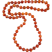 """Translucent Banded Carnelian Agate Necklace 32"""""""