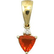 10K Fire Opal and Diamond Pendant