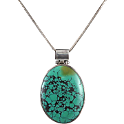 """Large Spider Web Turquoise and Sterling Silver Pendant Necklace 24"""""""