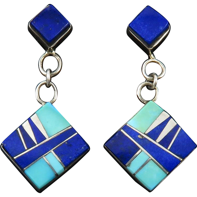 Lapis and Turquoise Sterling Silver Inlay Earrings